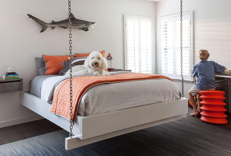 kids-chain-hanging-bed-gray-lacquer-floating-nightstands